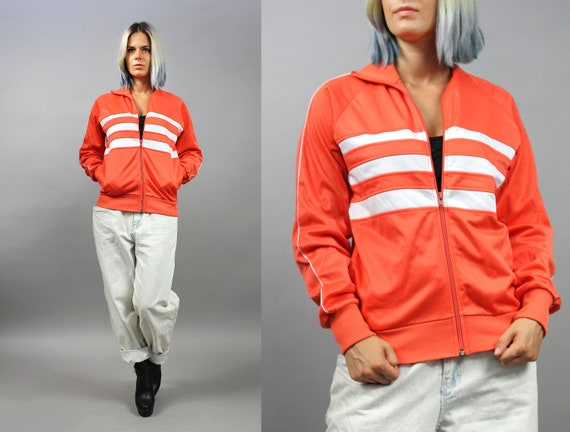 70s Vintage Neon Orange Sweatshirts, Athletic Stri