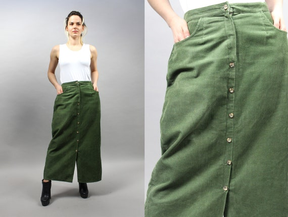 90s Maxi Corduroy Khaki Skirt. Vintage Como Mod Lo