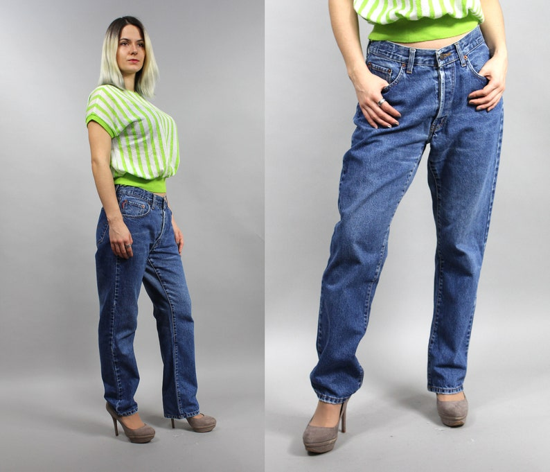 6b83a02b1b Unisex BEAVERS Moms Baggy Jeans 90s Grunge Straight Leg High   Etsy
