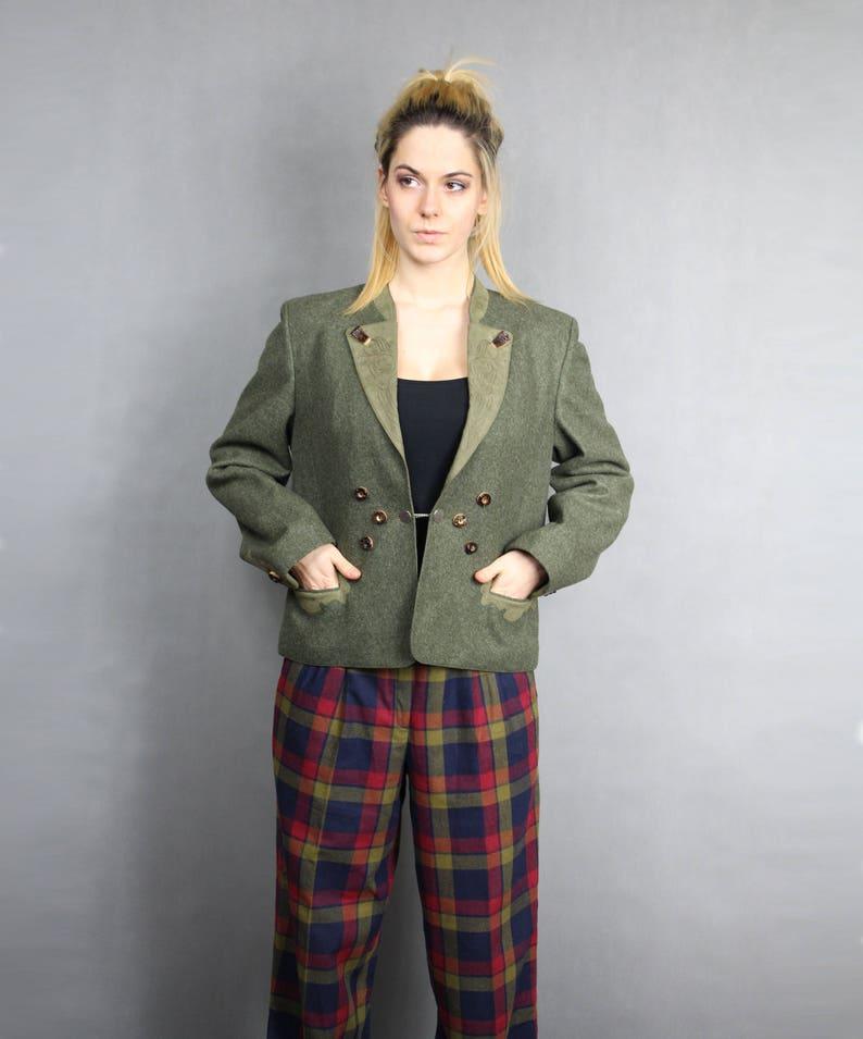 Folk style Countryside German Blazer 80s Khaki Trachten Jacket Bavarian Embroidered Top L Retro 1980s Vintage Warm Wool Short Fitted Coat
