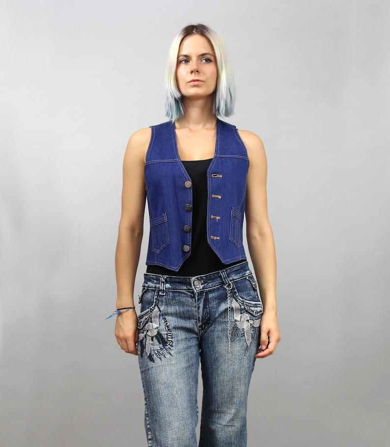 6cf29504a5074c Vintage Blue Crop Denim Vest. Cowgirl Grunge Rocker Sleeveless