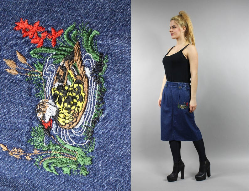 Bird Print Blue Denim Skirt Vintage Boho Preppy Denim Skirt Retro 70s Western Midi Skirt L Large Duck Embroidery Pencil Hippie Jean Skirt