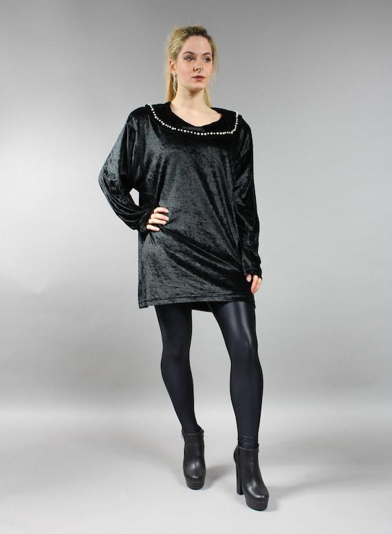 252900ba267 XXL Plus Size Vintage Black Velvet Blouse 90s Oversized Tunic