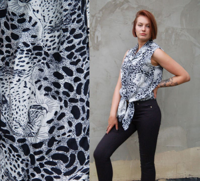 a420b253c64068 Vintage Tie Front Leopard Animal Print Crop Top Black and