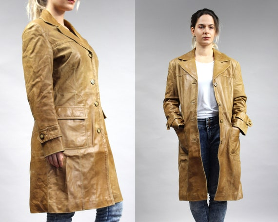 70s Brown Long Leather Trench Coat, Vintage Padded