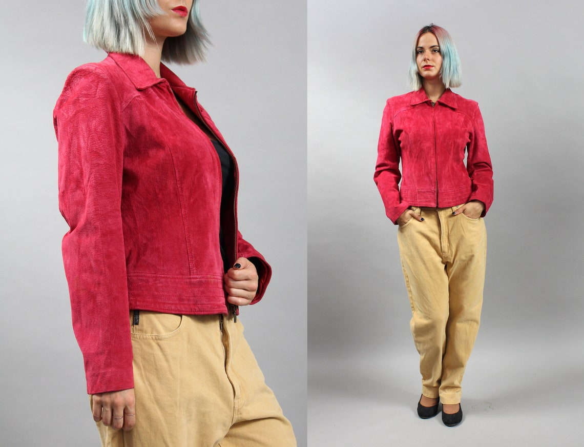 90s Suede Leather Red Jacket, Vintage Grunge Rocker Coat, Medium M