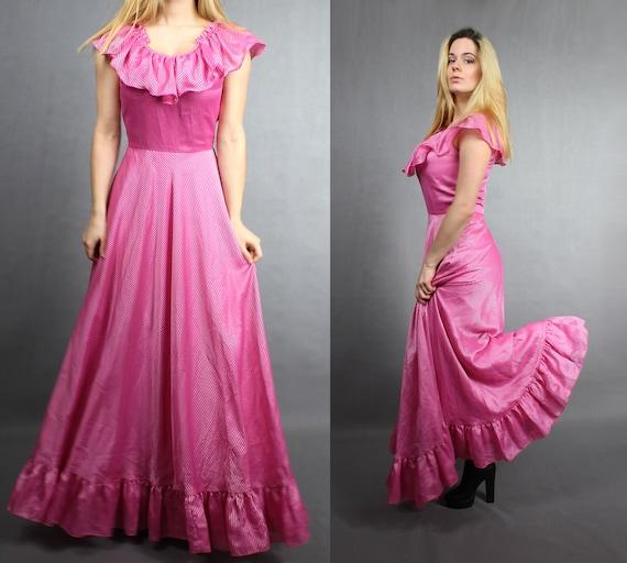 70s Maxi Empire Waist Pink Flared Maxi Dress Gown.