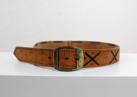 Vintage Wide Western Leather Belt, Embossed Polo S