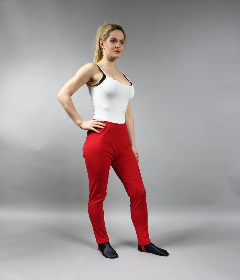 Yoga Stretchy High Waist Trousers Vintage Sports Red STIRRUP Pants Elastic Sportswear Sweatpants Gym Elastic Red Pants M 80s Leggings