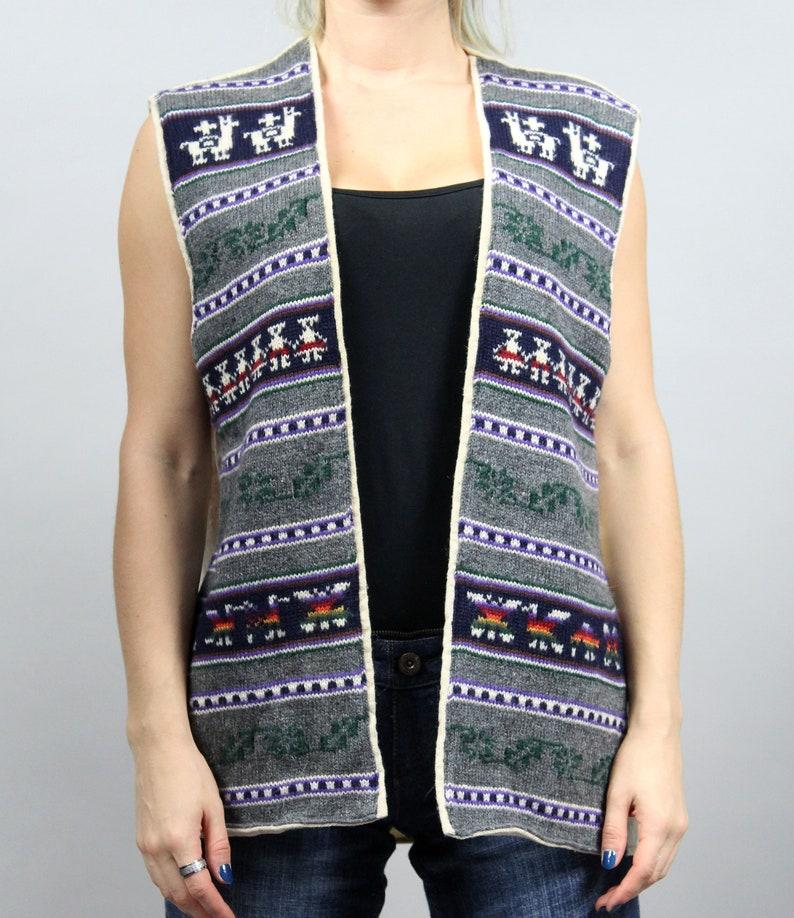 Longline Aztec Navajo Print Festival Warm Winter Knit Waistcoat L  XL UNISEX Vintage Southwestern Woolen Vest