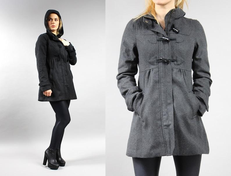 ea4b53fccfdf 90s Gray Hooded Wool Coat . Vintage Grunge Duffle Hoodie. | Etsy