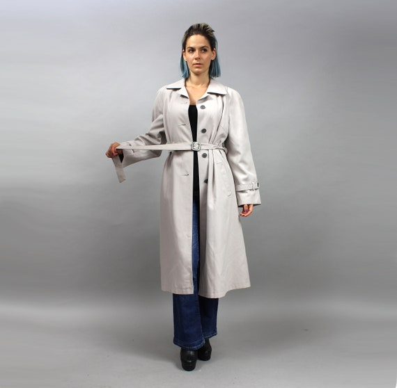 6abc519acc3 70s Mod Gray Belted Maxi A-line Trench Coat. Vintage Autumn