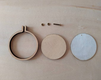 Mini Embroidery Hoop Frame 1 x 25mm / 30mm / 40mm / 50mm wood with free brooch, DIY, select size