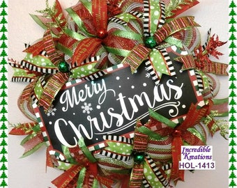 Chalkboard Merry Christmas Wreath; Merry Christmas Wreath;   Chalkboard Wreath; Wreath for  Front Door or Walls