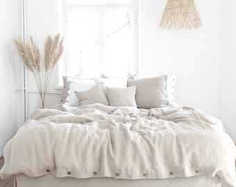 Natural LINEN DUVET COVER with coconut buttons or tie closure. Seamless, stonewashed linen bedding.