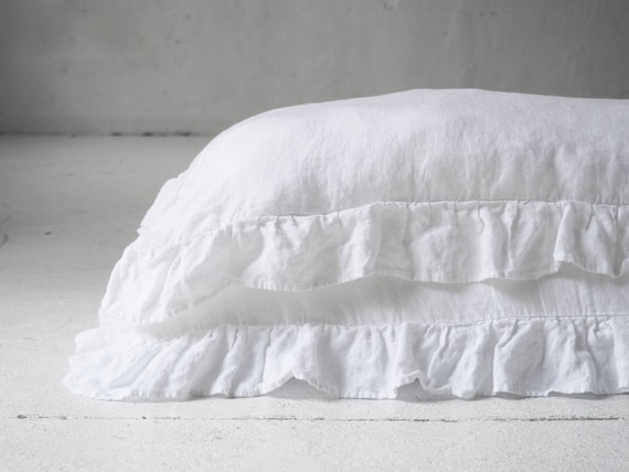 True gray ruffled linen pillow cases
