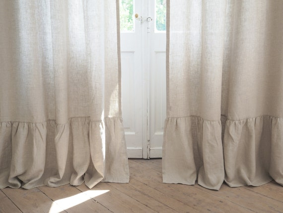 Linen Curtain Panel With Decorative, Curtain Panel Width