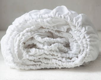 Linen bedding - FITTED sheet, pure white, linen fitted sheet king, fitted sheet queen, linen fitted sheets twin. Seamless.