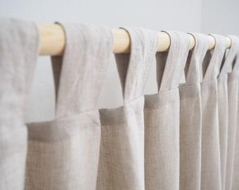 Tab Top Linen Curtain Panel made of MEDIUM LINEN (160 g/m2) / natural linen / homey style / linen drapes