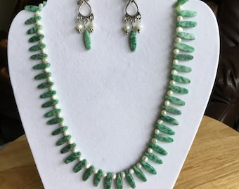 Fresh water pearls and new green jade