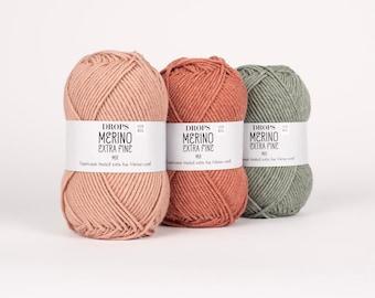 DK Merino yarn! Garnstudio DROPS design Merino Extra Fine - 100% extra fine merino DK knitting wool - 50 grams