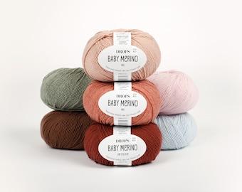 100% Baby Merino Yarn! 50 colours! Garnstudio DROPS Baby Merino - pure extra fine merino 4ply knitting crochet wool - 50g
