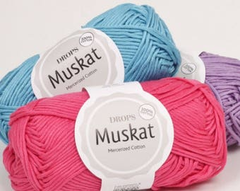 DK cotton yarn! Garnstudio Drops Design Muskat 100% Egyptian Mercerised cotton DK / 8ply Luxury knitting crochet wool - double knitting