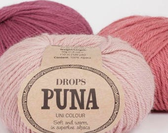 Alpaca DK yarn! Garnstudio Drops Design PUNA 100% Super Fine Alpaca Luxury knitting wool 50 grams - untreated natural fibre!