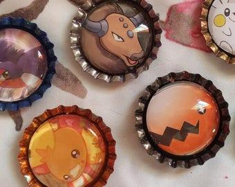 Pokemon Bottlecap Magnets T/V/W/Z -- Upcycle