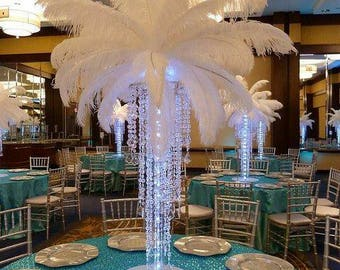 Crystal chandelier etsy chandeliercrystal table top chandelier with standeiffel tower centerpiecefeather centerpiecechandelier centerpiececrystal chandelier aloadofball Choice Image