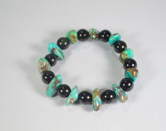 Turquoise Bracelet . Turquoise Stacking Bracelet . Turquoise And Obsidian Bracelet . Chakra Healing Bracelet . Reiki Healing Bracelet