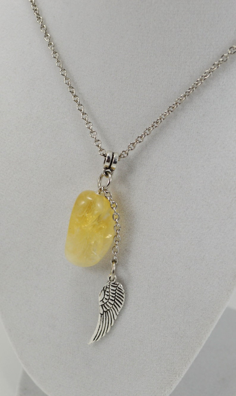 Inspitational Guardian Angel Citrine Necklace Guardian Angel Spiritual Citrine Necklace Valentine/'s Gift Citrine Angel Wing Necklace