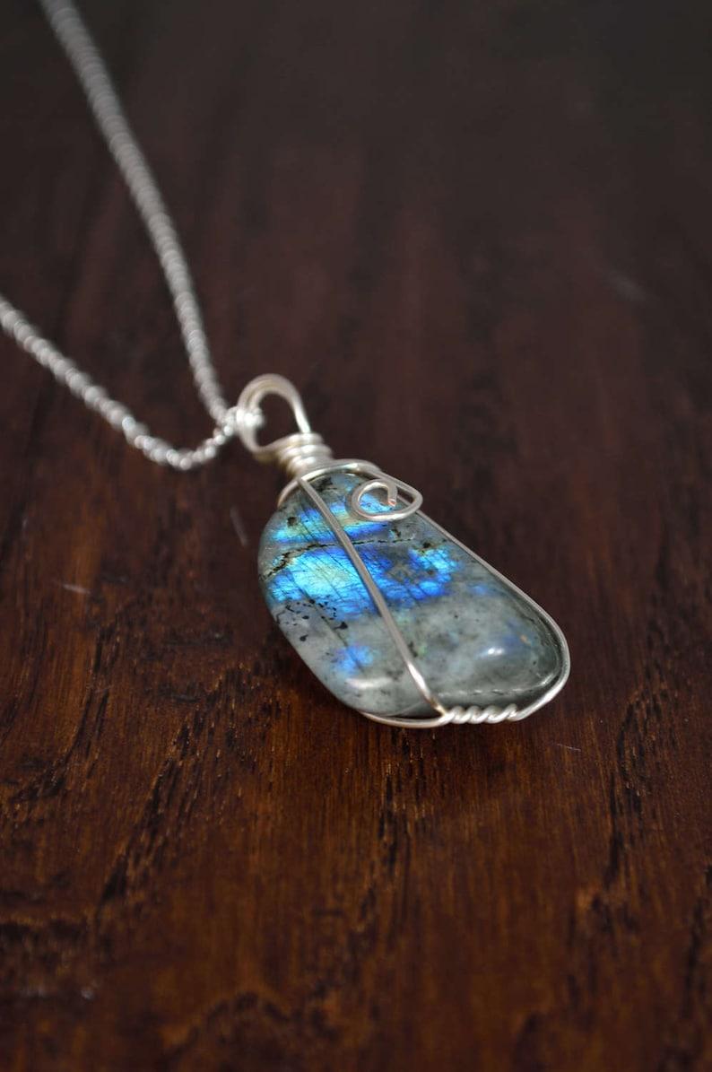 Valentine/'s Gift Healing Labradorite Wire Wrapped Necklace Healing Labradorite Necklace Labradorite Necklace
