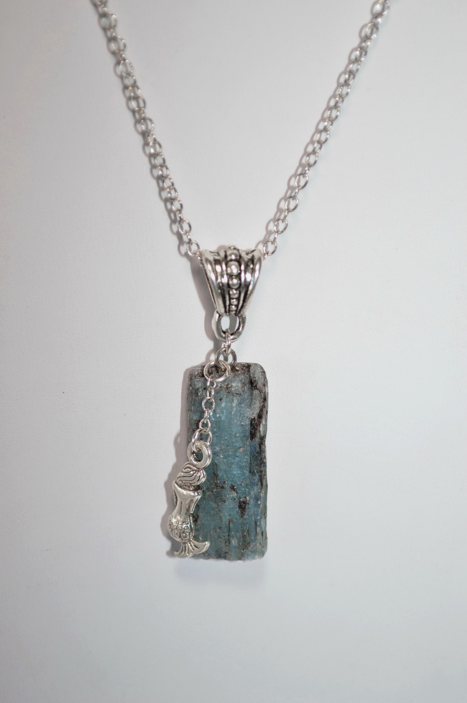 Blue and Green Kyanite and Sterling Silver Necklace