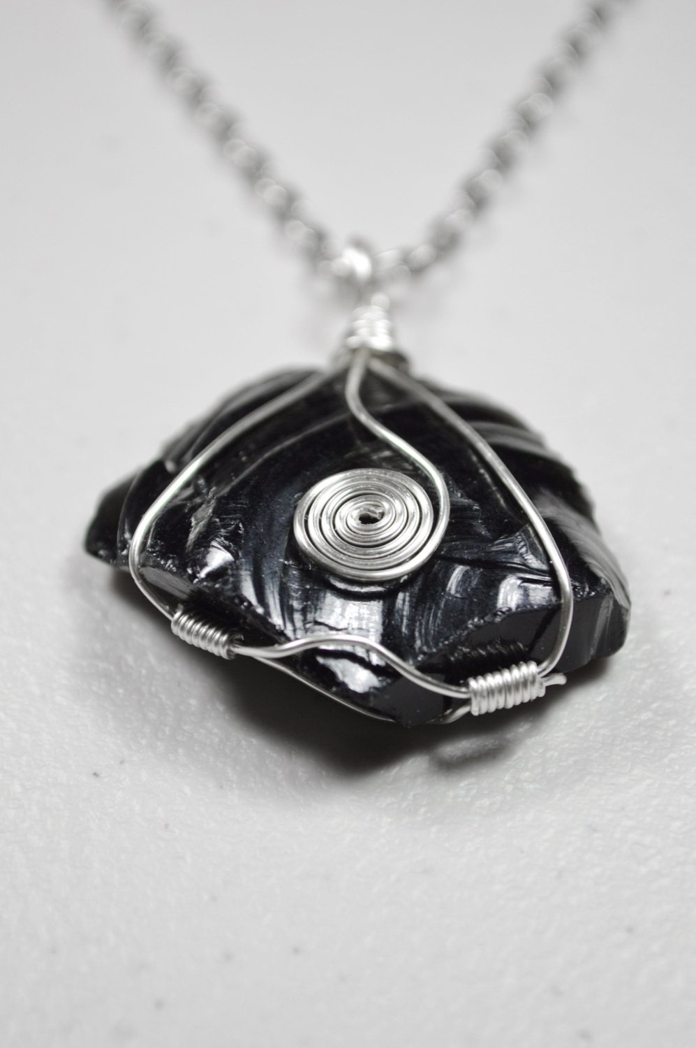 Obsidian Necklace . Wire Wrapped Obsidian Necklace . Healing ...