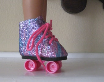 """Roller Skates Rainbow or White 14/"""" Doll Clothes Fit American Girl Wellie Wishers"""