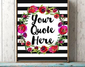 custom quote printable wall art black white stripe floral wreath personalised name Bible quote watercolor flowers modern room decor