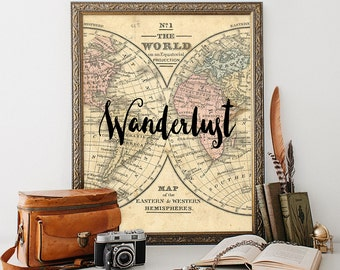 Wanderlust print travel wall art printable quote instant download 8 x 10 vintage travel print home decor