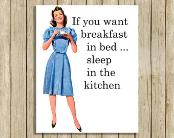 Retro kitchen 1950's budget wall art printable retro quote decor mid century digital instant download humerous funny breakfast in bed