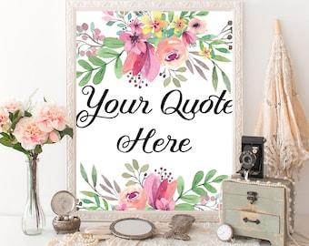 Custom quote pink floral watercolor printable wall art personalised print words lyrics romantic modern room decor custom name gift