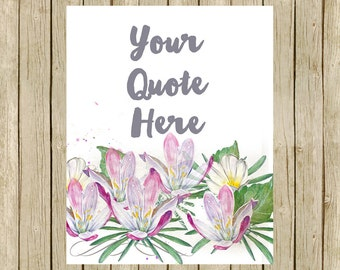 custom quote printable wall art floral lotus personalised words name lyrics watercolor flowers print your own modern room decor lilac