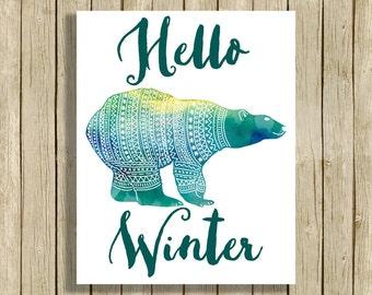 Printable wall art Hello Winter polar bear watercolor digital art instant download 8 x 10 teal modern home decor