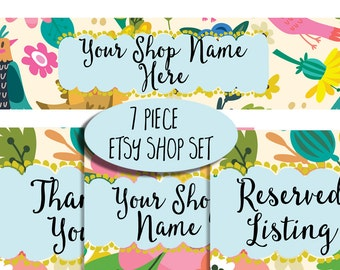 Etsy shop banner set modern floral whimsical fun bright colors new size Etsy cover photo watercolor flowers garden