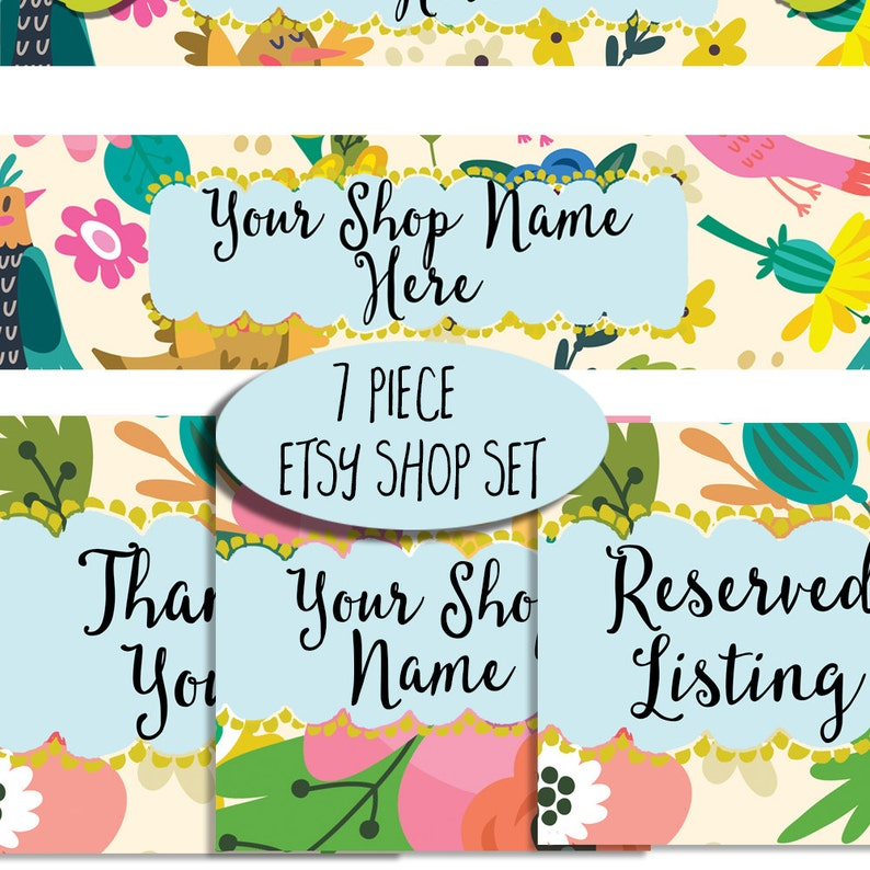 Etsy shop banner set modern floral whimsical fun bright colors image 0