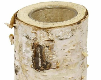 Natural Birch Log Votive Holder with Glass, 3, 4.5 or 6 Inch