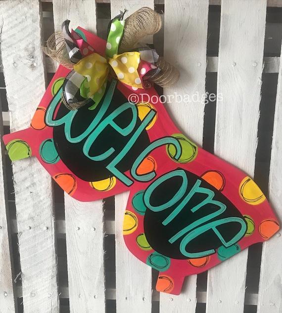 Summer door Decor welcome wreath Pineapple Door Hanger spring summer hand painted personalized door hanger