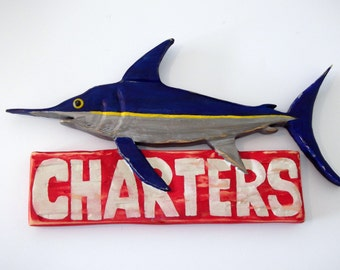 Hand carved Marlin fishing sign