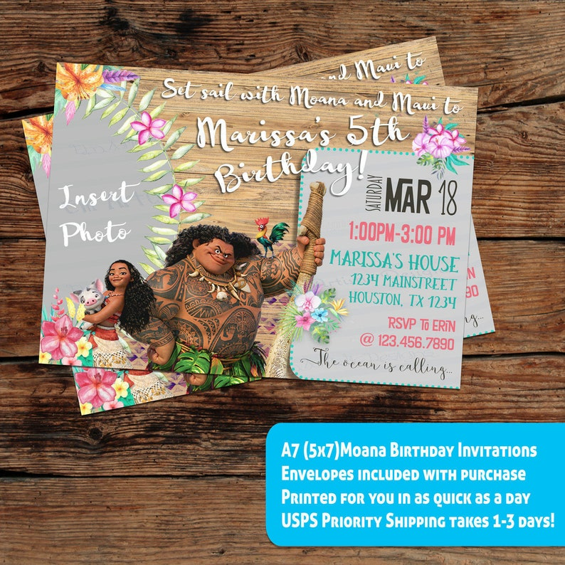 INDIVIDUAL Disneys Moana Inspired Birthday Party InvitationsA7 Size Decorative WordingMaui Printed For You W Envelopes