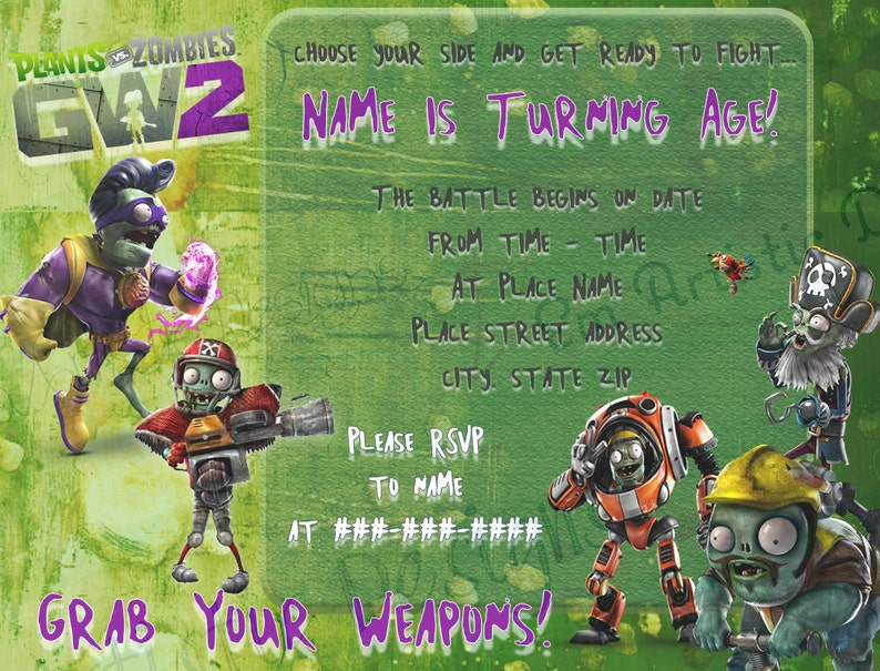DIGITAL PRINTABLE plants vs  zombies GW2 birthday party invitations}A2 size  invitations}Video game birthday}Gamer party} FREE Thank you card