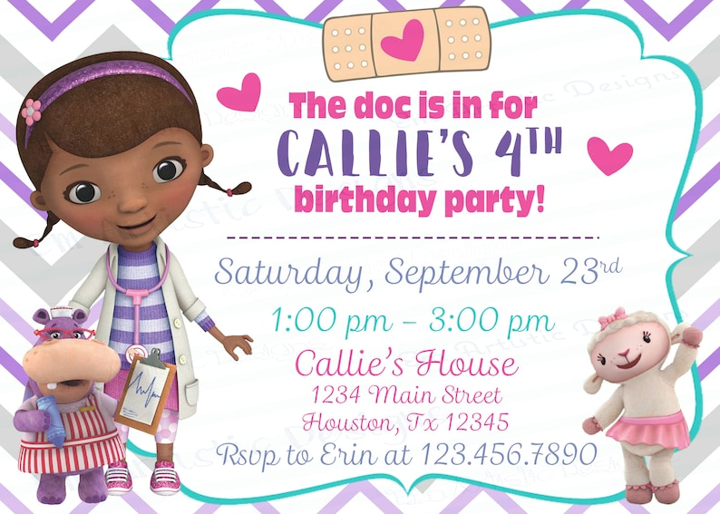 DIGITAL DOWNLOAD Doc Mc Stuffins Inspired Birthday Party
